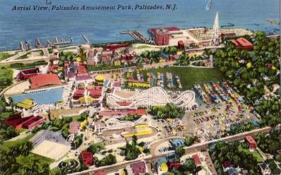 Aerial view of Palisades Amusement Park in the 1960s.