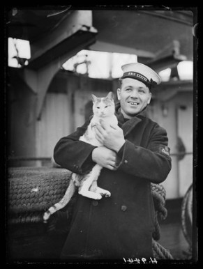 Sailor with cat, 1940