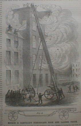 "April 21, 1860, Scientific American ""Fire escape Hook and Ladder Truck."""