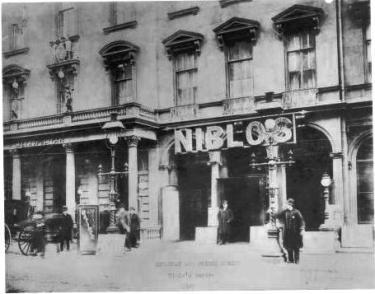 The exterior of Niblo's Garden c.1887.