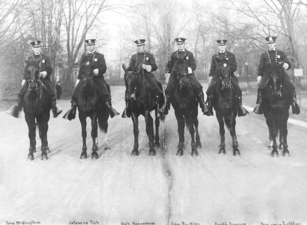 The Mounted Patrolman of Prospect Park, about 1908:  John S.E. McCaughan, Artemas Fish, Charles Hanneman, John Buckley, Joseph Donovan, Benjamin Leppler.