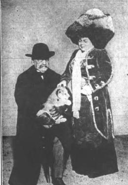 General Daniel E. Sickles gives lion cub to Princess Lwoff-Parlaghy