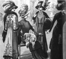 If it was fashionable in Paris, it was a fashion must in New York. Extravagant hats with large ostrich feathers and outrageous fur muffs and shawls were in high style in the 1800s.