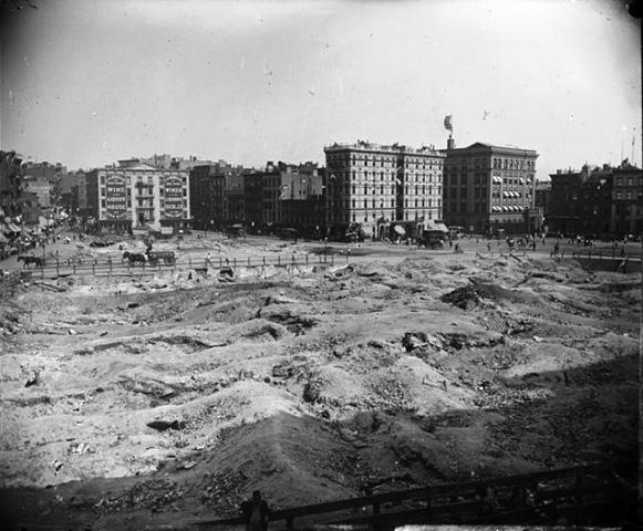 The Division Street Park site -- as it was when tenements were cleared away, taken by Jacob A. Riss in 1898.