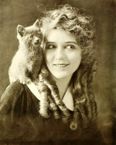 Mary Pickford and cat, 1916