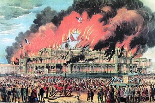 Only five years after it opened, the Crystal Palace burned to the ground in a spectacular, fast-burning fire.